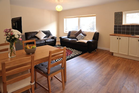Open plan room with 2 sofas, dining table and chairs and some kitchen units