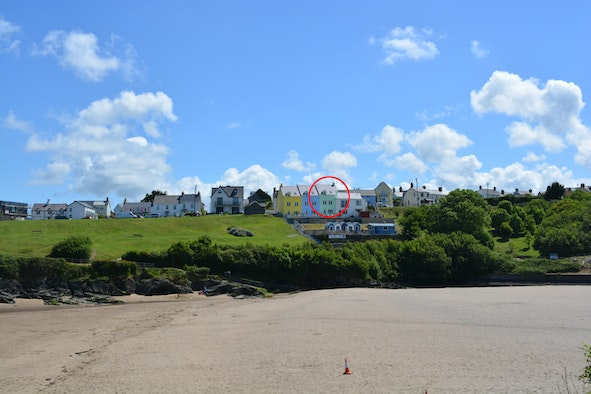 View across beach towards 1 Glanmordy apartment in the distance