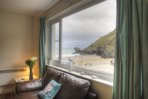 View from the living room window to the beach at Llangrannog