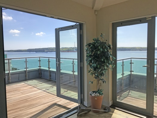 Spectacular views from the French windows to the front balcony