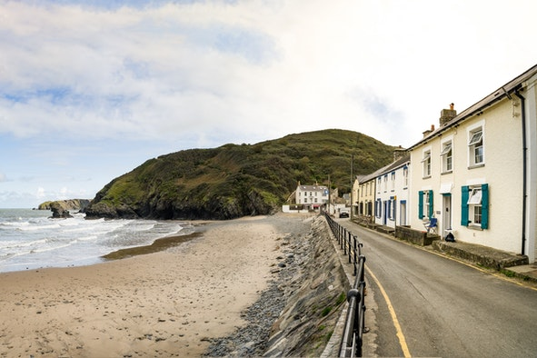 The outside of Trem y don 1 and Llangrannog beach