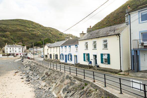 The outside of Trem y don 2 and Llangrannog beach