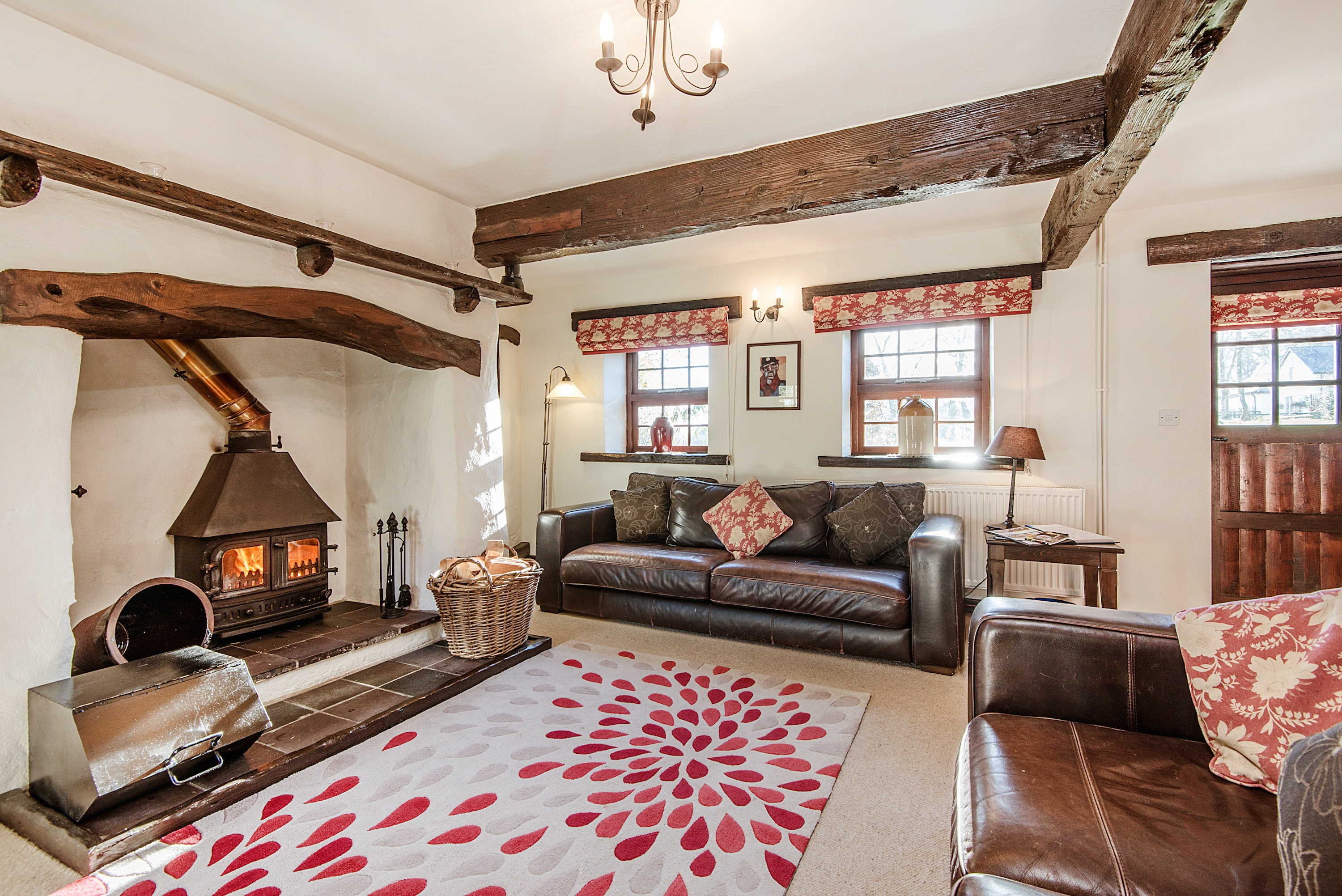 Tansy Cottage Sitting Room With Open Fireplace, Woodburner, Large Rug, Sofa  And Armchair