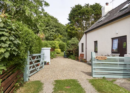 Entrance to Y Bwthyn, open gate to driveway and garden