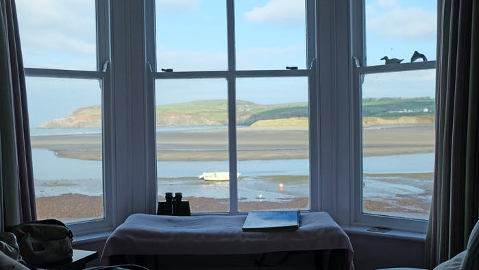 Bay window with view over the estuary at Newport