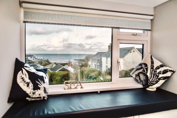 Glenview. View from master bedroom looking towards Aberporth beach