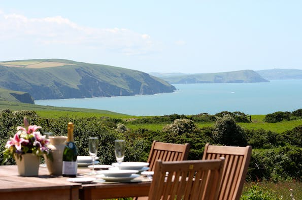 Dine outside with view over Cardigan Bay