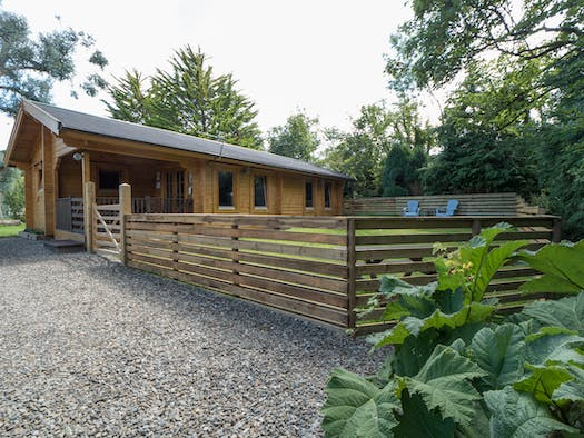 Gravel drive leading to Parc y Pant Cabin and enclosed garden