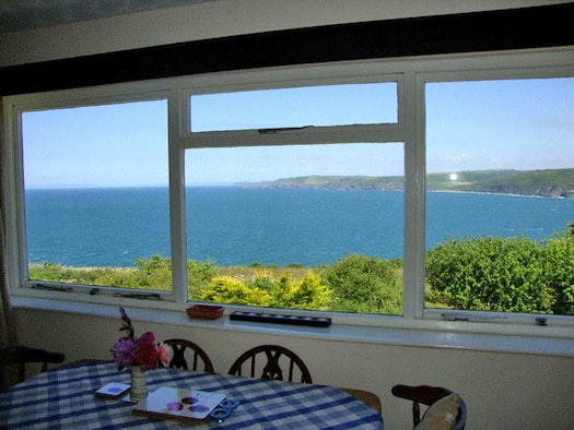 Dining area with view of Cardigan Bay